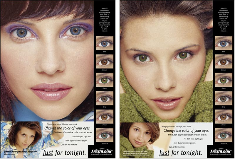 Sample: two FreshLook color contact lenses print ads